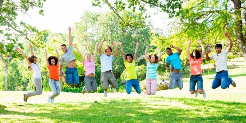 Our students having fun in a garden in Valencia