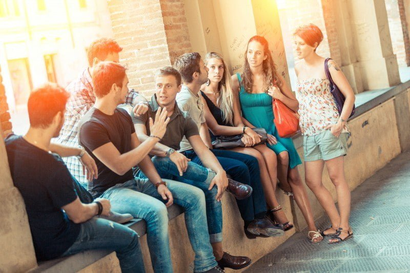 students talking together